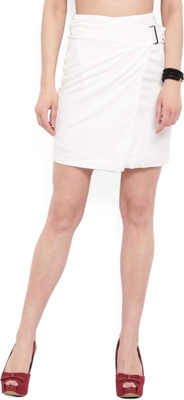 MANGO Solid Women's Wrap Around White Skirt