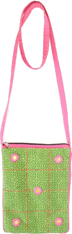 Viniyog Green, Pink Sling Bag