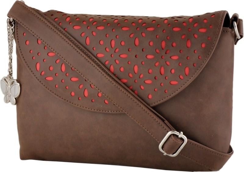 Butterflies Women Brown PU Sling Bag