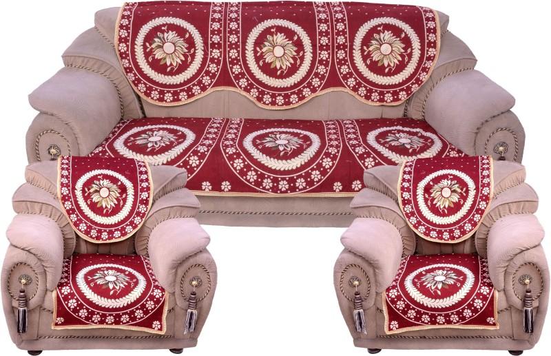 Krishna Creations Velvet Sofa Cover(maroon Pack of 6)