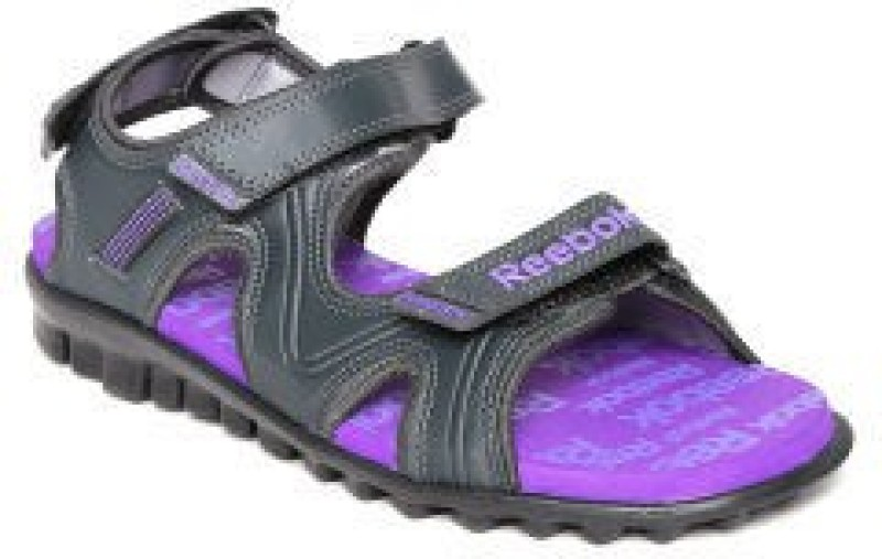 Reebok Women GRAVELPURPLEGREYBLK Sports Sandals