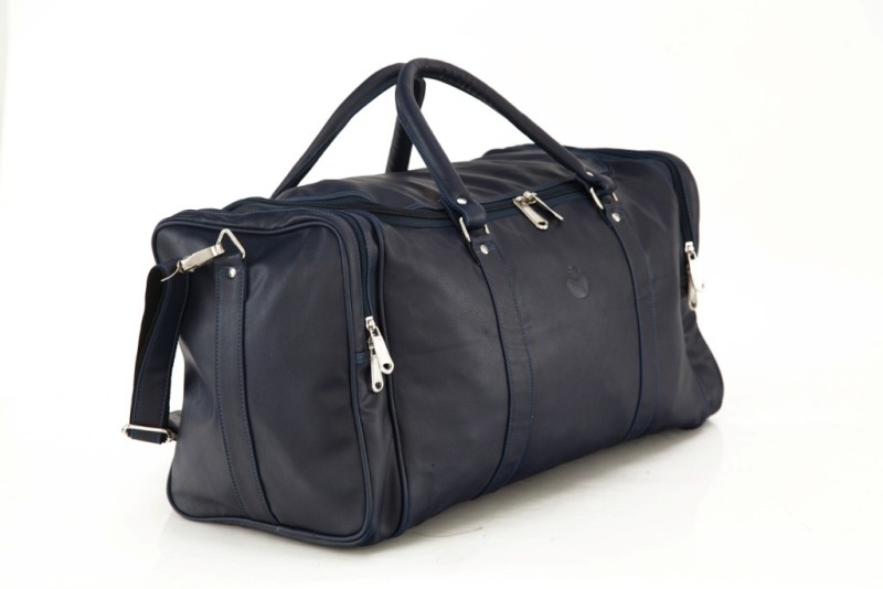 Mboss Faux leather Unisex Blue Plain Single Small Travel Bag - Medium(Blue)