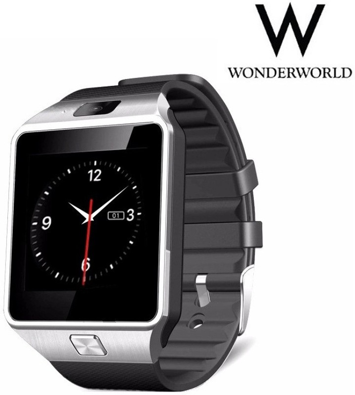 Wonder World ™ DZ09 Bluetooth Wrist Phone w/ SIM Slot, Pedometer Silver Smartwatch(Silver Strap Regular)