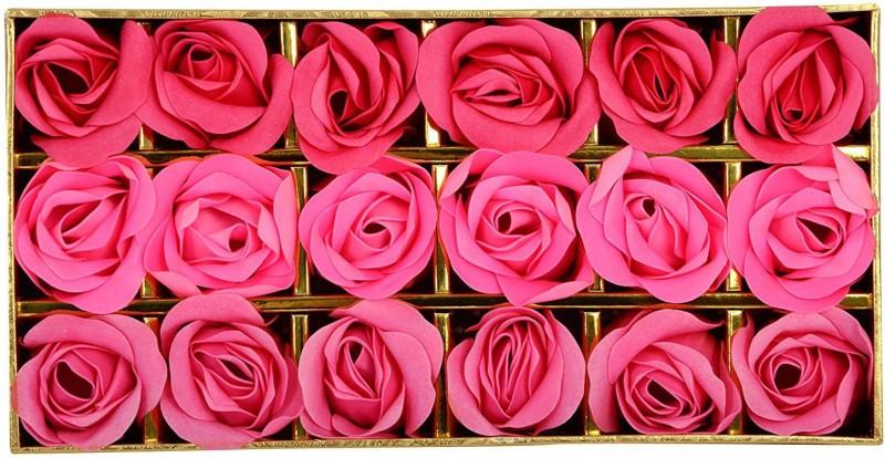 Looks United Fragrant Pink Red Rose Bud Flower Petal Soap ( 18 Rose Flower )(18 x 4.17 g)