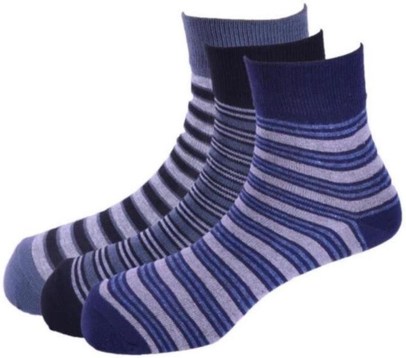 Calzini Mens Striped Crew Length Socks(Pack of 3)