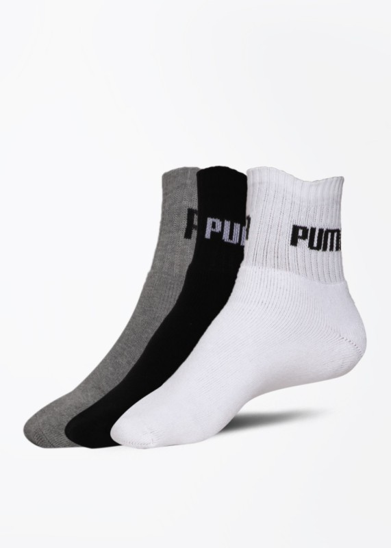 Puma Men's Solid Quarter Length Socks(Pack of 3)