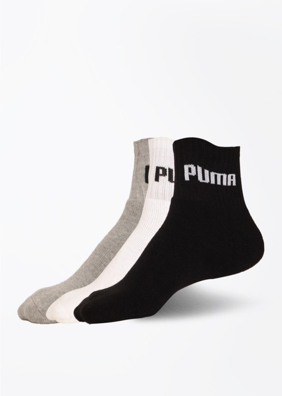 Puma Mens Solid Quarter Length Socks(Pack of 3)