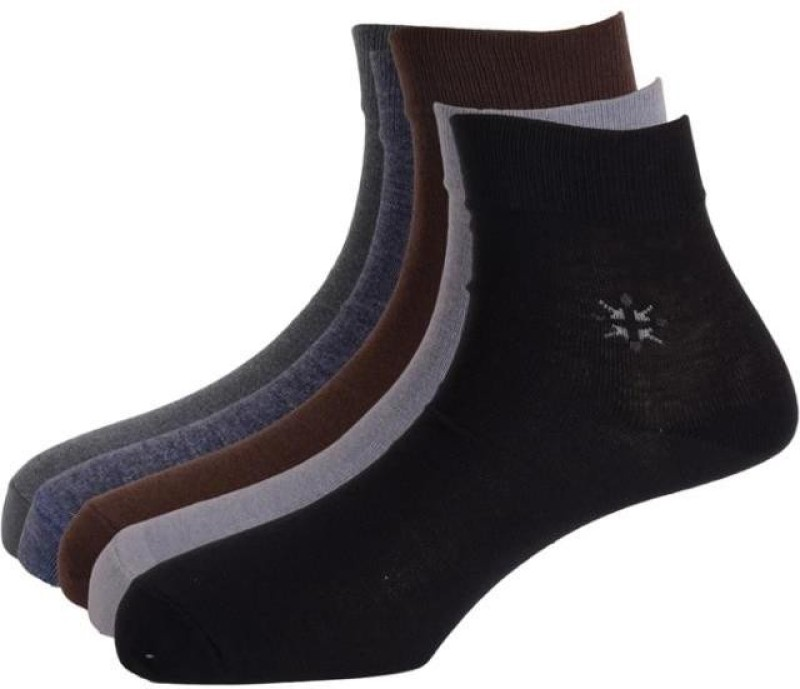 Calzini Mens Solid Ankle Length Socks(Pack of 5)