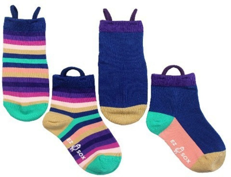 NeedyBee Girls Striped, Solid Quarter Length Socks(Pack of 4)
