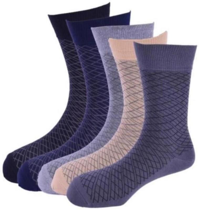 Calzini Mens Geometric Print Crew Length Socks(Pack of 5)