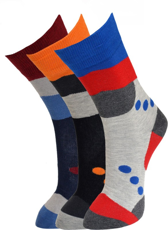 Vinenzia Mens Graphic Print Crew Length Socks
