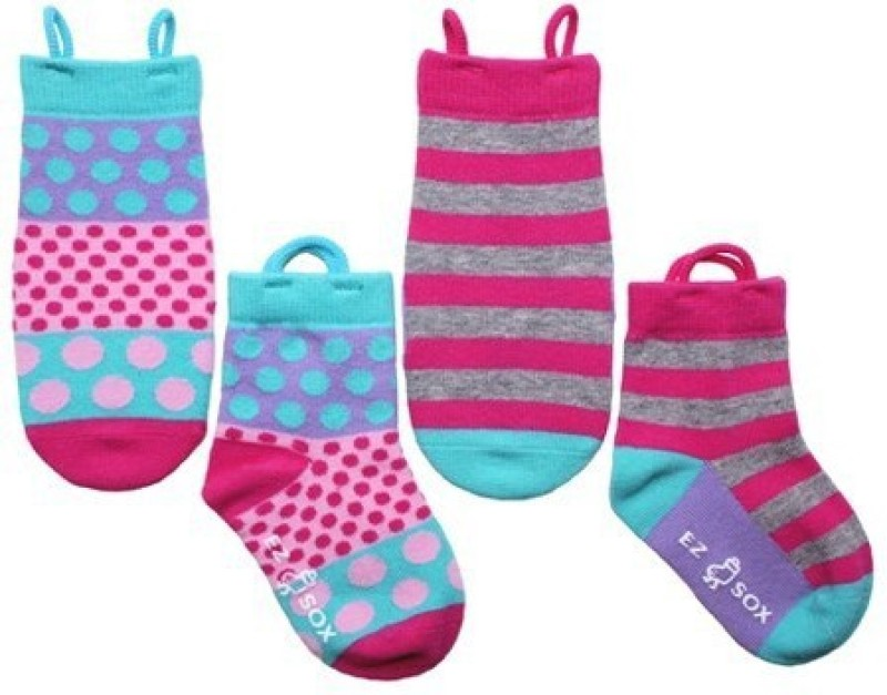 NeedyBee Girls Polka Print, Striped Quarter Length Socks(Pack of 4)