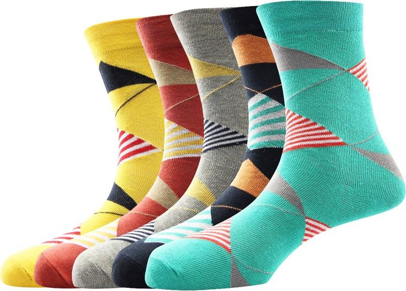 Calzini Mens Geometric Print Mid-calf Length Socks