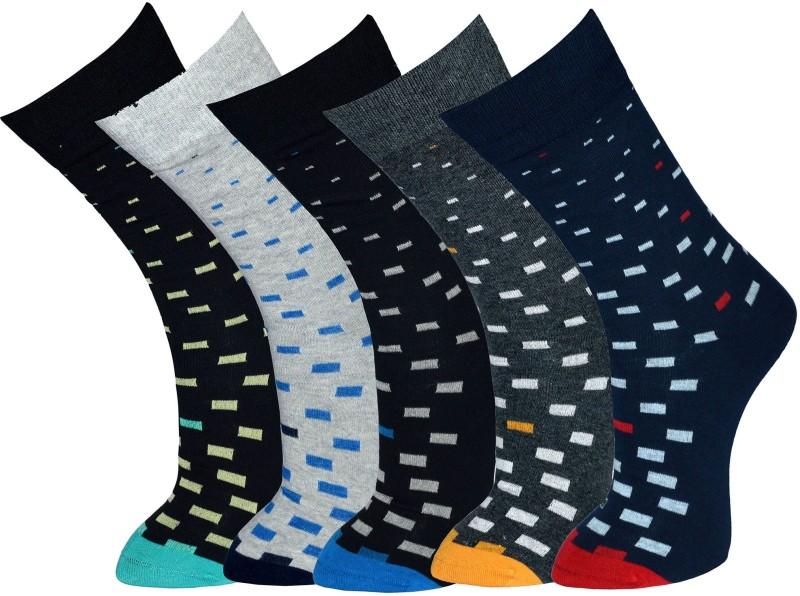 Vinenzia Mens Graphic Print Crew Length Socks(Pack of 5)