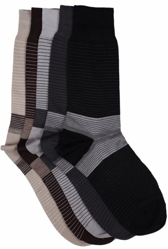 Vinenzia Mens Self Design Crew Length Socks(Pack of 5)