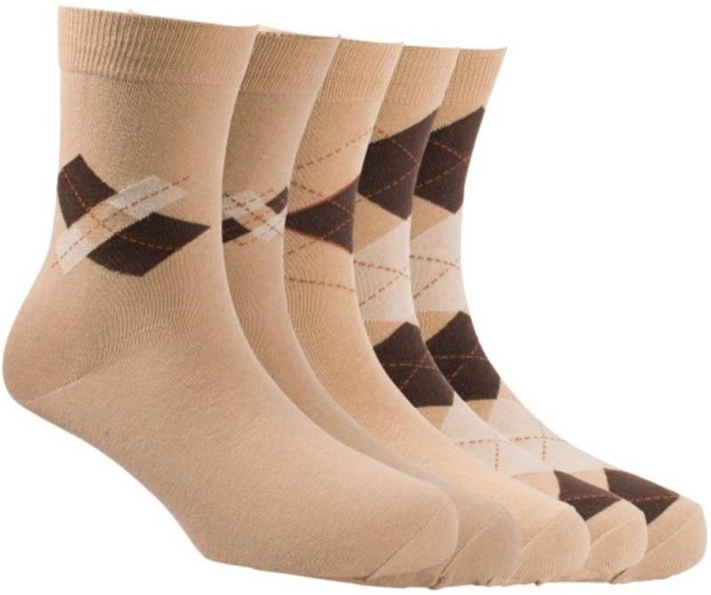 Calzini Mens Solid Crew Length Socks(Pack of 5)