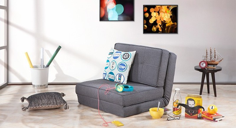 Urban Ladder Desso Single Fabric Futon(Finish Color - Grey Mechanism Type - Fold Out)