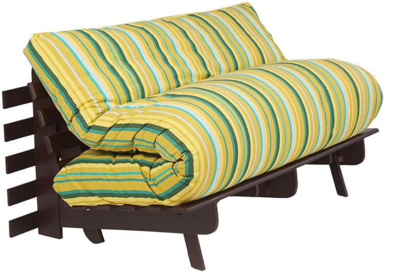 ARRA Single Fabric Futon(Finish Color - Green Lines Mechanism Type - Fold Out)