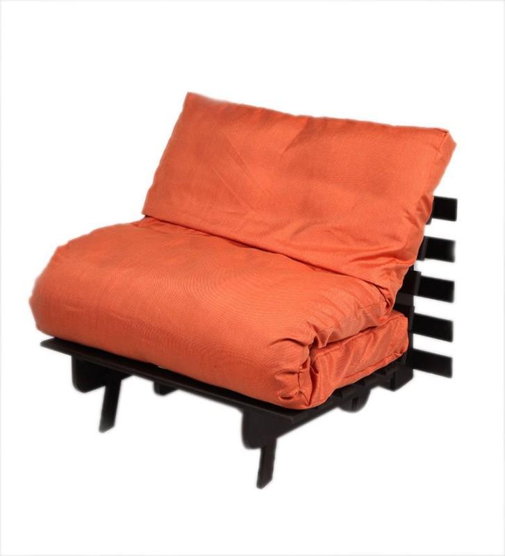 ARRA Single Fabric Futon(Finish Color - Orange Mechanism Type - Fold Out)