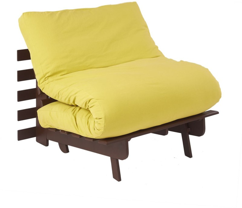 ARRA Single Fabric Futon(Finish Color - Lemon Yellow Mechanism Type - Fold Out)