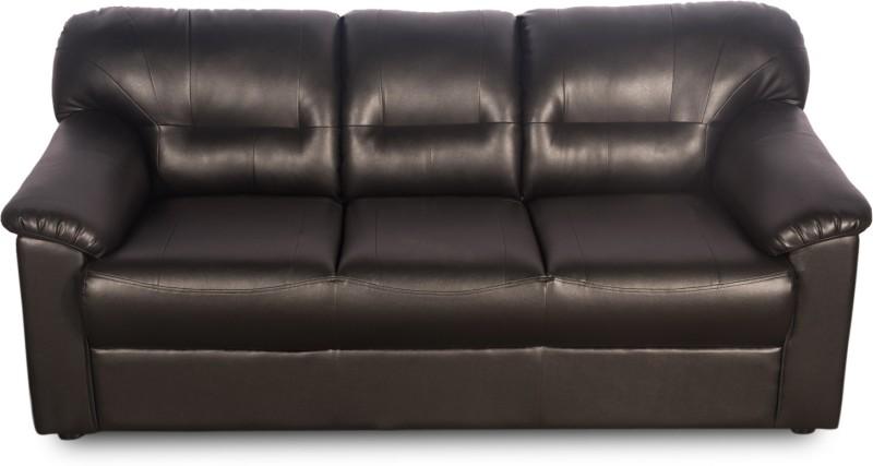 Godrej Interio Rio Plus Leatherette 3 Seater Sofa(Finish Color - Black)