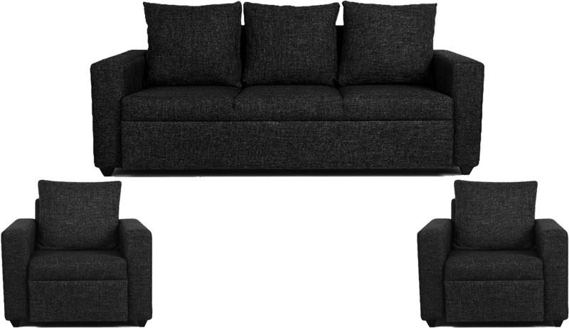 Comfy Sofa Leatherette 3 + 1 + 1 Black Sofa Set