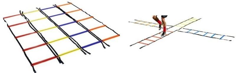 Sahni Sports Multi Color Criss Cross Quad (2 Mtr x 4 Pc) Speed Ladder(Red, Yellow, Blue, Orange)