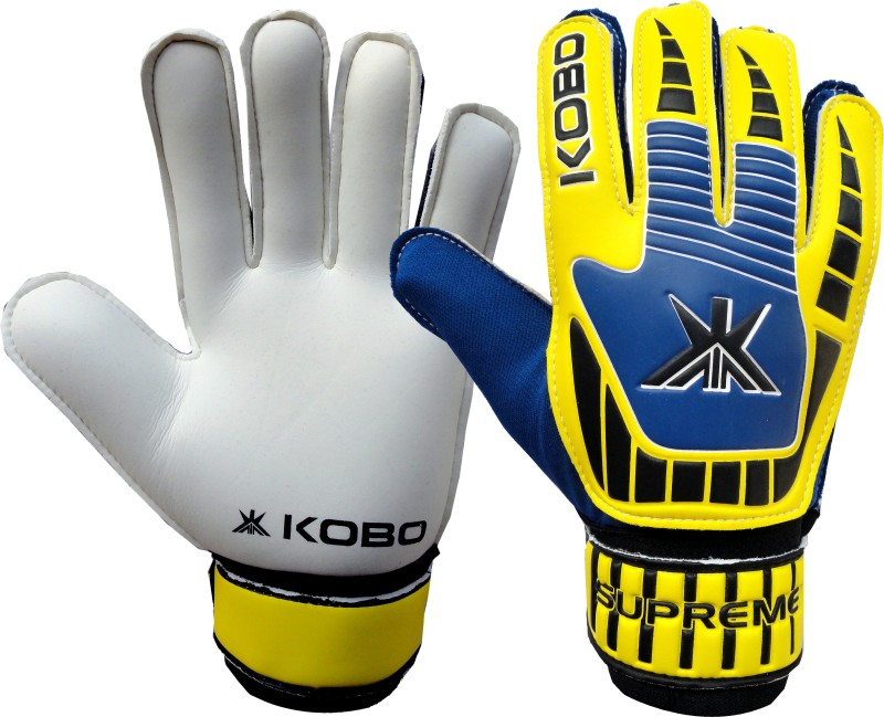 Kobo Supreme Goalkeeping Gloves (XS, Blue, Yellow)