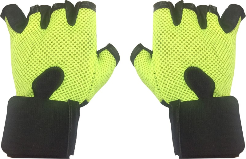 Cp Bigbasket Netted with Wrist Support Gym & Fitness Gloves (Free Size, Green)
