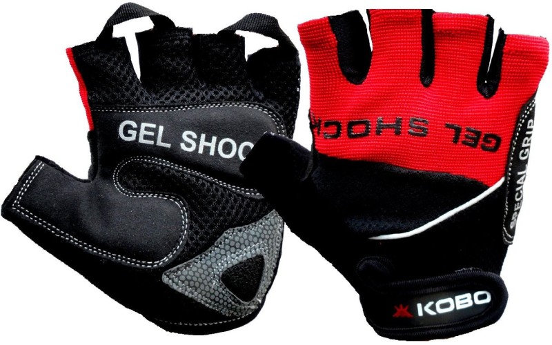 Kobo Exercise Weight Lifting Grippy Hand Protector Padded SG2 Gym & Fitness Gloves (M, Red, Black)
