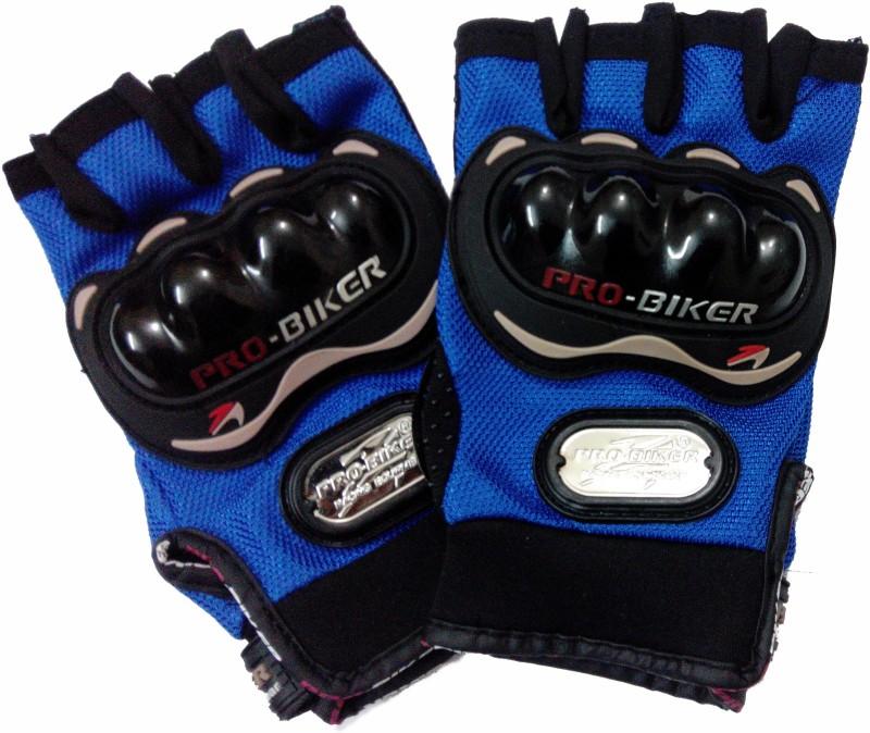 Probiker Half Cut Driving Gloves (L, Blue, Black)