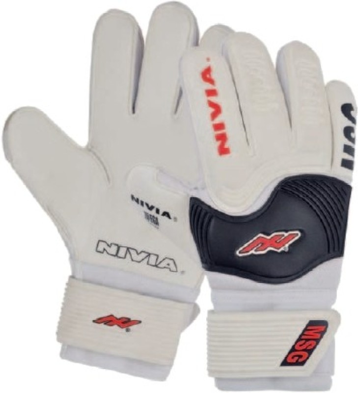 Nivia Mega Soft Grip Goalkeeping Gloves (S, White, Black)