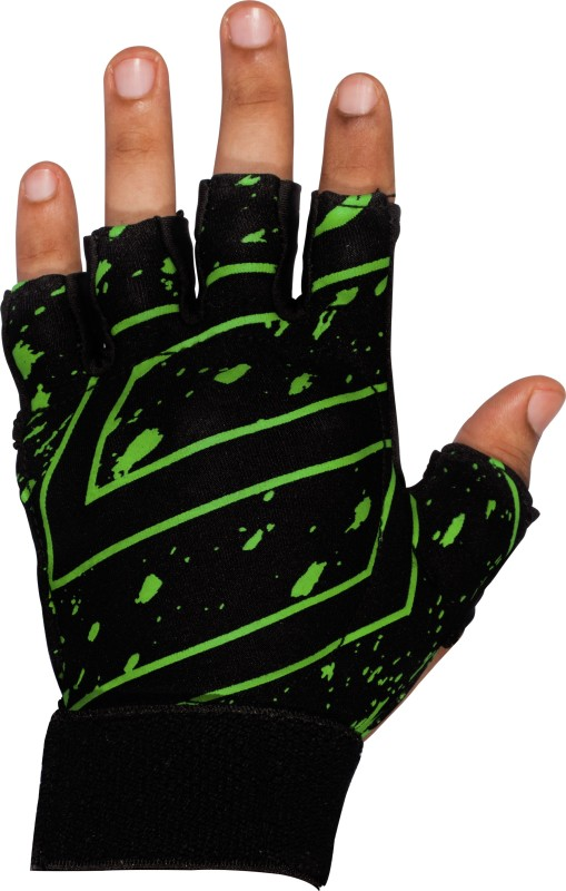 SNS ULTRA LITE Hockey Gloves (L, Black, Green)