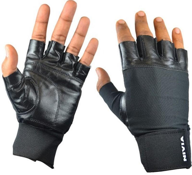 Nivia Leather Gym & Fitness Gloves (L, Black)