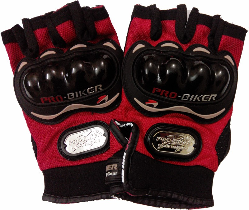Probiker Half Cut Driving Gloves (L, Red, Black)
