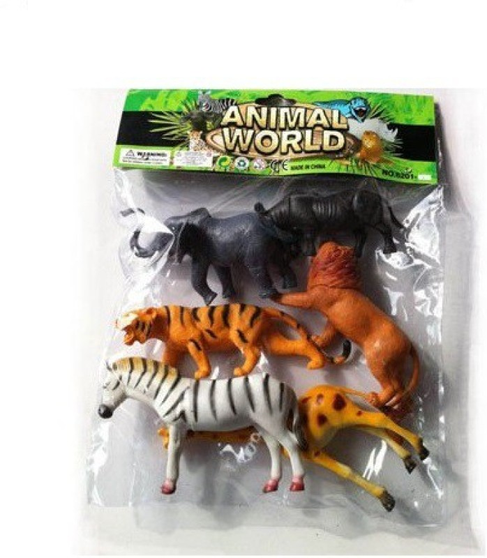 Angella WILD ANIMALS (6 PIECES) SMALL PLASTIC TOY SET(Multicolor)