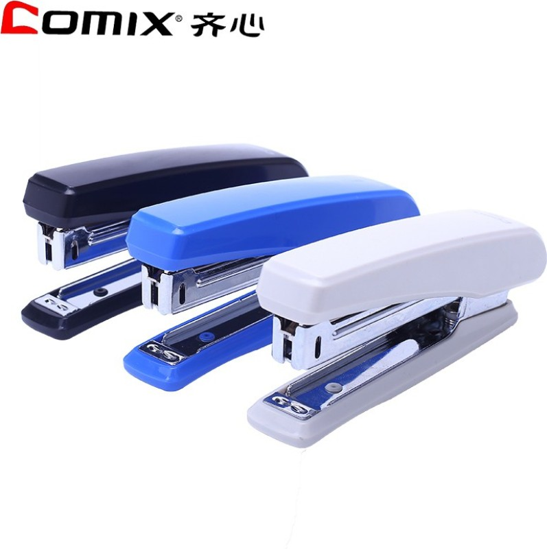 Comix Office Manual 23-6-H Metal Stick Stapler with 10 box pins(Set of 1, Blue, Grey, Black)