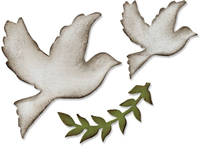 SIZZIX Bigz Die - Enchanted Doves 661607 doves Stencil(Pack of 1, animal)