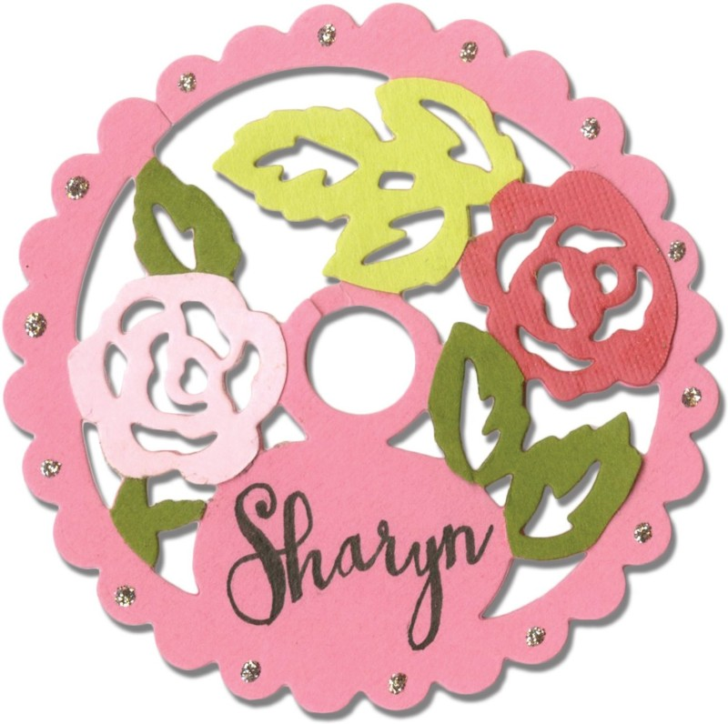 SIZZIX Thinlits Die - Wine Stem Name Label, Rose Lace 660750 label Stencil(Pack of 1, label)