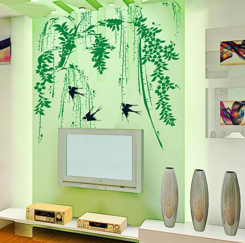 Oren Empower Spring Bamboo Swallow Home Decor Wall Sticker(85 cm X cm 70, Green)