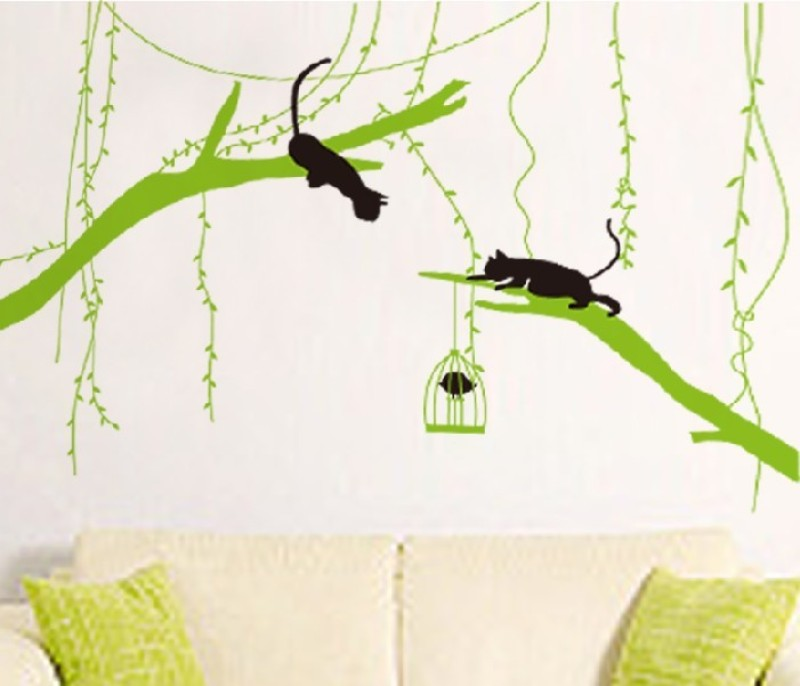 Oren Empower Black Cat Playing On Tree A Very Innovative Wall Decal(150 cm X cm 200, Multicolor)