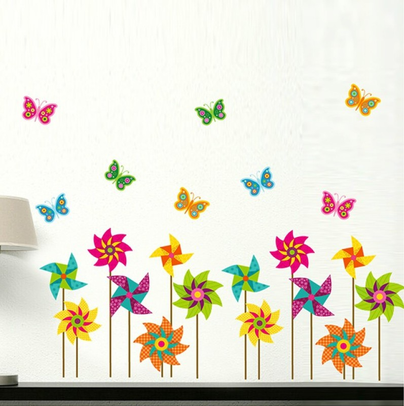 Oren Empower Standing Colorful Flower & Butterflies Wall Decals(Multicolor)