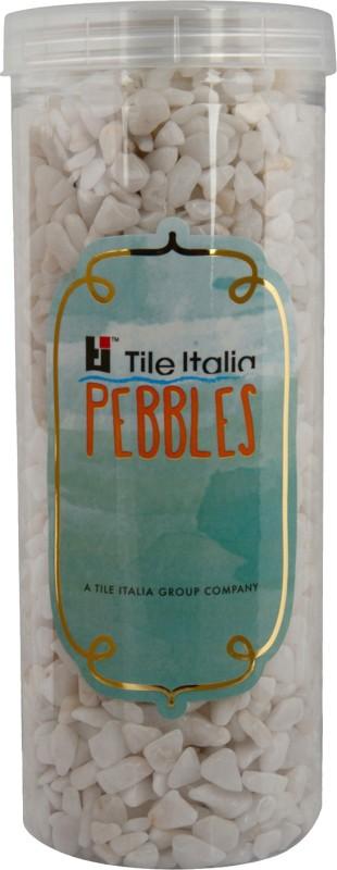 Tile Italia Pebbles White Polished Chips Polished Angular Quartz Stone(White 1 kg)