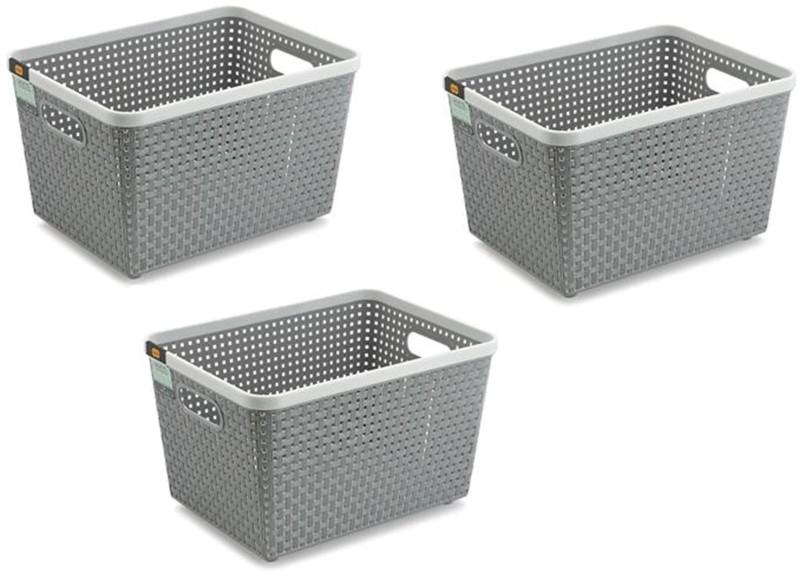 NAKODA Combo Of 3 Plastic Basket Storage Basket(Pack of 3)