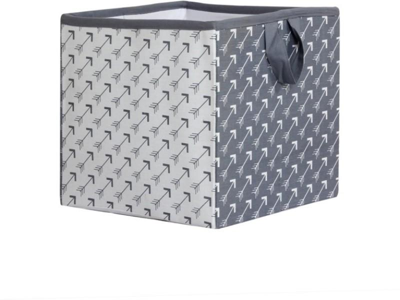 Bacati Playful Fox White Grey Arrow Small Storage Box(Multicolor)