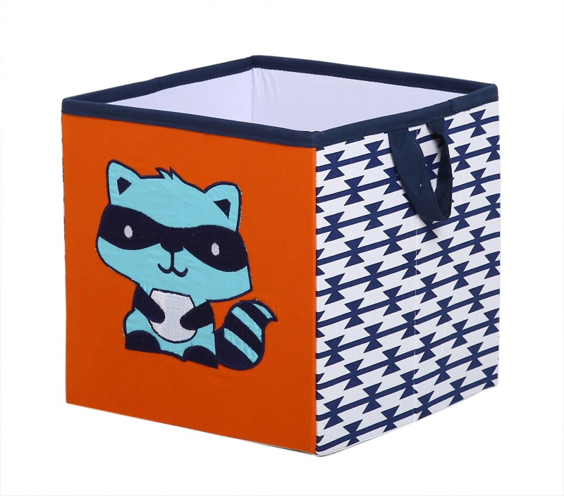 Bacati Aztec Aqua Orange Navy Small Storage Box(Multicolor)