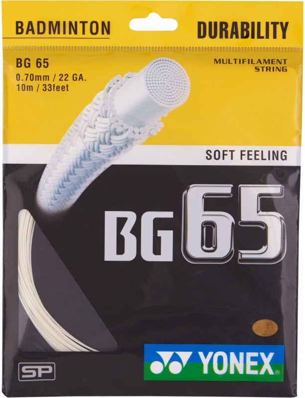 Yonex BG 65 0.70 Badminton String - 10 m(White)