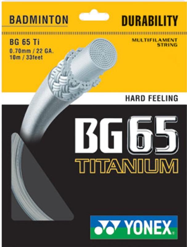 Yonex BG 65 Titanium 0.70 Badminton String - 10 m(White)