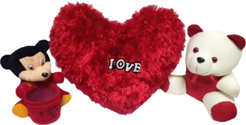 Aparshi Special combo valentine gift, 18cm pen stand, 40cm love heart stuffed pillow, 24cm soft teddy bear - 40 cm(Red//White)
