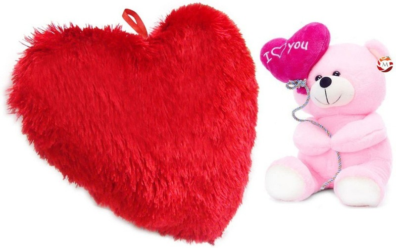 MGPLifestyle - Valentine Special Combo of Red Heart Cuision (48x40cm) with Pink I love you Ballon Heart Teddy (22cm) - 18 cm(Multicolor)